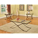 King's Brand Pewter Finish with Glass Top Coffee Table and 2 End Tables Occasional Set