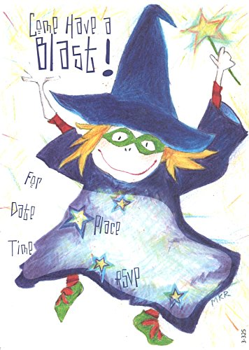 (Lil' Pickle Halloween Witch Invitations, Fill-in Style, 8 Pack)