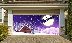 Christmas garage door cover banners 3d santa for Garage door repair santa cruz