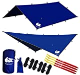 quest tent canopy - Chill Gorilla 12x12 Hammock Rain Fly Tent Tarp Waterproof Camping Shelter. Essential Survival Gear. Stakes Included. Lightweight. Easy to Setup. Made from Diamond Ripstop Nylon. Camp Accessories Blue