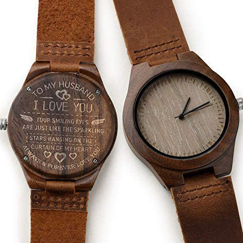 CUCOL Men's Walnut Wood Watch, Customize Engraved Wooden Stylish Leather Watch with Gift Box for Your Lovely Dad/Husband/Son(Christmas)