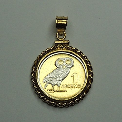 "Greek ""U.S. nickel size"" White Owl, Gorgeously 2-Toned (Uniquely Hand done) Silver on Gold coin Pendants - Charms Necklaces for women men girls girlfriend boys jewelry making bracelets"