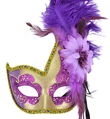 [Venetian Masquerade Masks Mardi Gras Costume with Feather Flowers] (Purple Feather Mask)