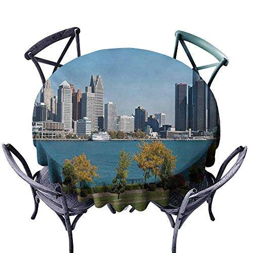 Anti-Fading Tablecloths,Detroit,Industrial City Center Shoreline River Scenic Panoramic View in a Sunny Day,for Events Party Restaurant Dining Table Cover,47 INCH,Blue Green -