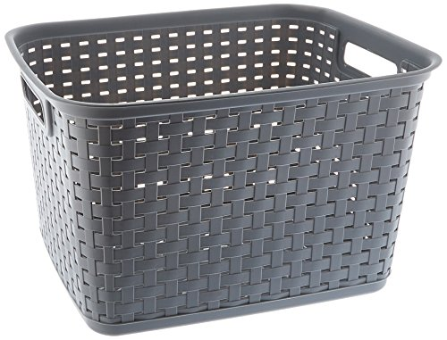 Sterilite 12736A06 Tall Weave Basket, Cement, Case of 6