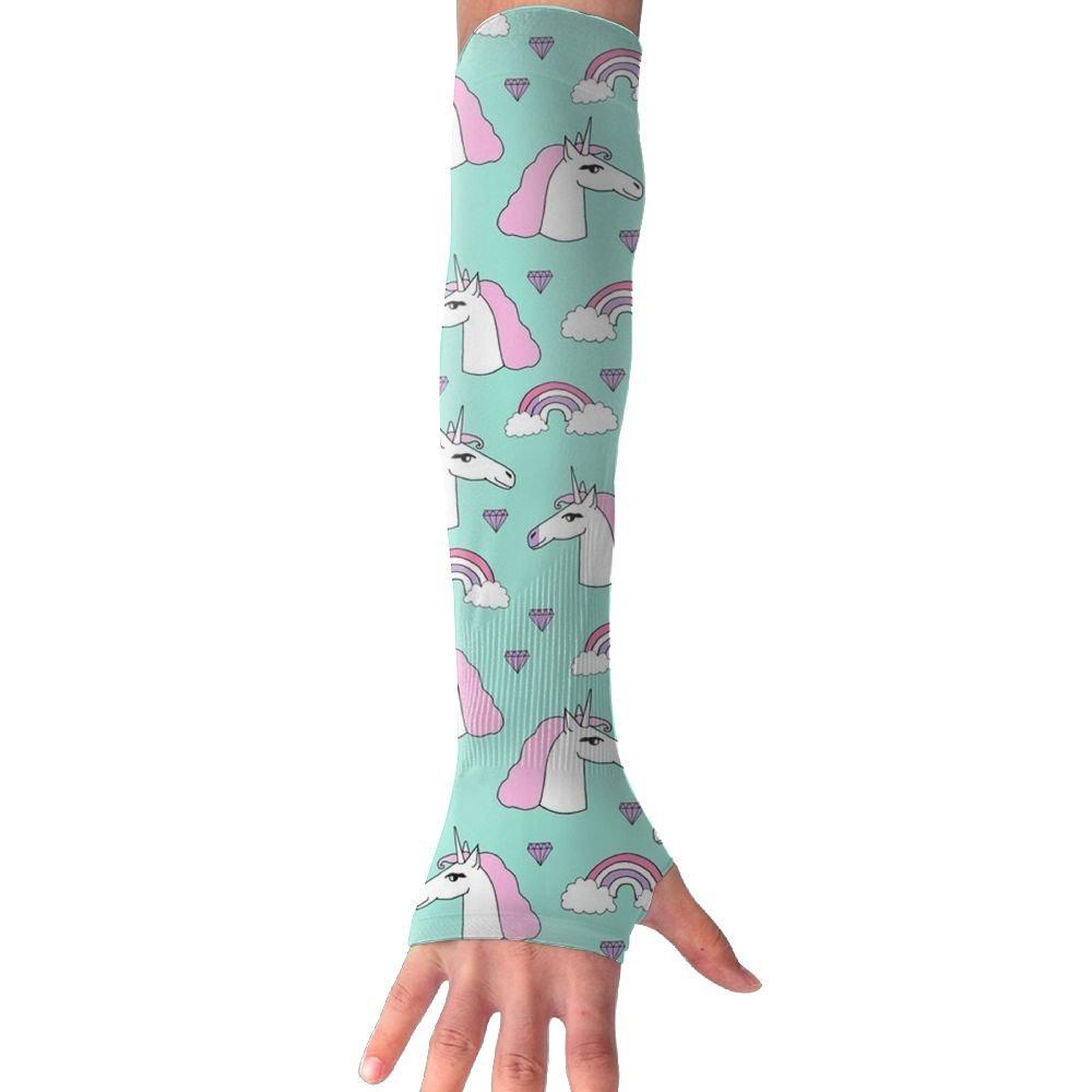 Unicorn Rainbow Hearts UV Sun Protection Sleeves,Cooling Arm Sleeves For Men Women Long Arm Sleeve Glove