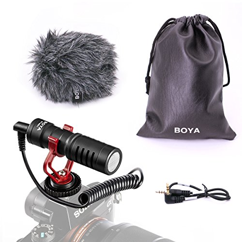 (BOYA BY-MM1 Shotgun Video Microphone with Shock Mount, Deadcat Windscreen, Case compatible with iPhone/Andoid Smartphones, Canon EOS/Nikon DSLR Cameras Camcorders for Live Streaming Audio Recording)