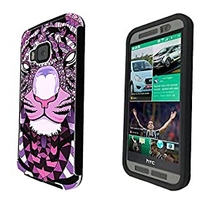 254 - Geometric Aztec Tiger Face Design htc One M8 Full Body CASE With Build in Screen Protector Rubber Defender Shockproof Heavy Duty Builders Protective Cover