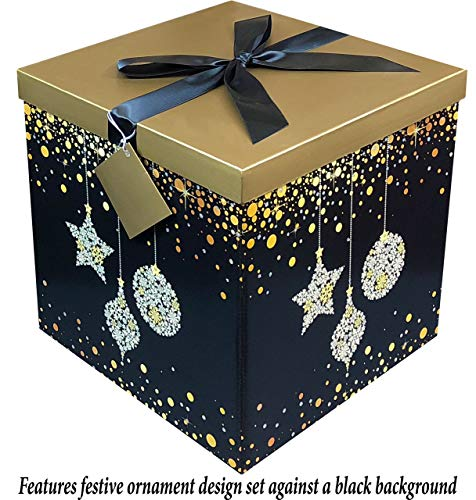 Gift Box 12x12x12 Starlight Pop up in Seconds comes with Decorative Ribbon mounted on the lid A Gift Tag and Tissue Paper - No Glue or Tape Required -