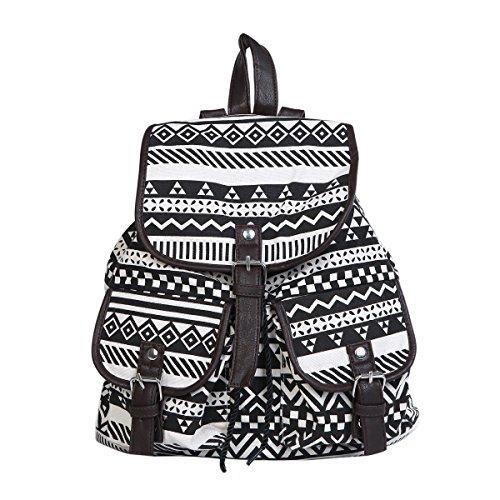 Lightweight Bohemian Tribal Aztec Canvas Backpack School Travel Shoulder Bag