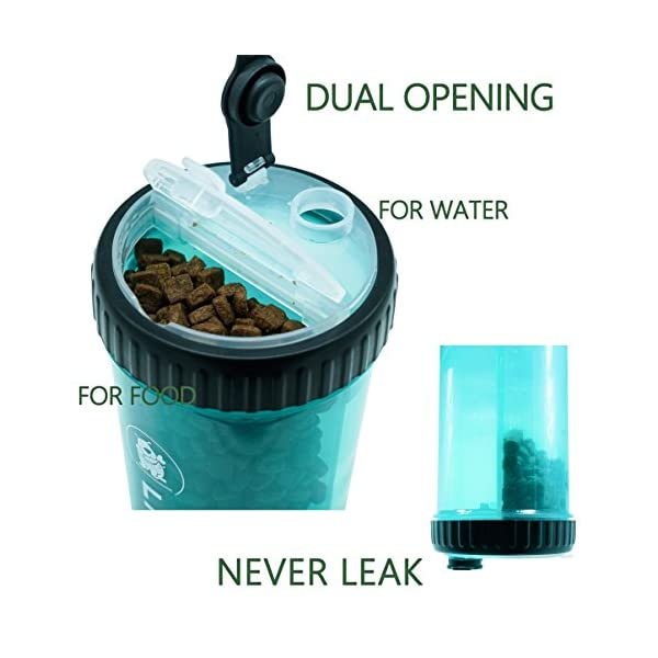 LIFE4FUN Dog Water Bottle for Walking and Food Container 2 in 1 with Dog Water Bowl Collapsible, Travel Dog Water Dispenser for Pets, (XL Size, Blue) 4