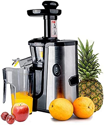 CUH Professional Slow Juicer for Highly Efficient Fruit Vegetable Juice Extraction Stainless Steel Finish Quiet Motor, Juice Container, Pulp