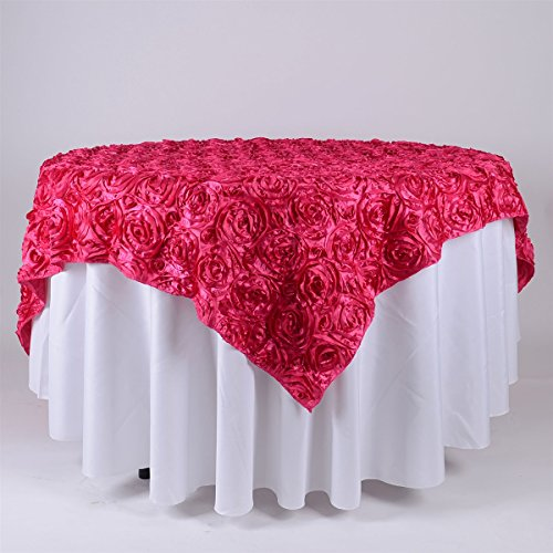 BBCrafts 72 Inch x 72 Inch Square Rosette Satin Tablecloths Overlay (Fuchsia)