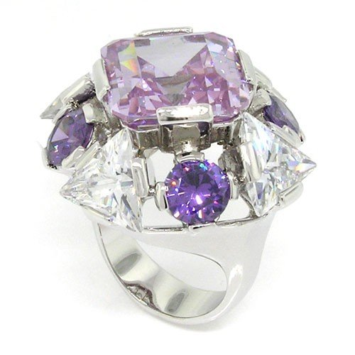 Ring Diva Cocktail (Bold & Alluring Creation - Diva Large Cocktail Ring with Amethyst & White CZs Size 6)