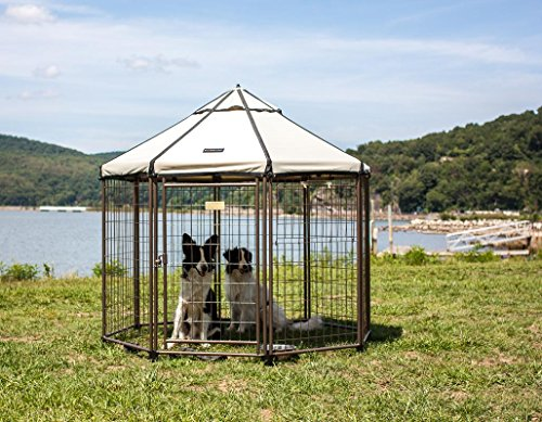 Advantek Select Pet Gazebo Metal Modular Outdoor Dog Kennel with Reversible Cover, Medium (Beach Sand)