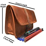 Handcraft''Ella'' Genuine Leather Stationery Pencil Pen Case Art Pouch Office College Smart Everyday Gift Vintage Unisex Brown