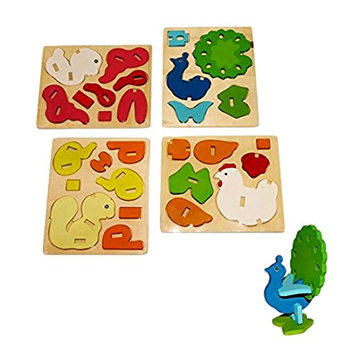 3D Wooden Farm Animals Assembly Toy - 4 pack Assorted DIY Farm Animals Wooden Puzzle Arts and Crafts Activity Set of 4 Wooden Animal Stacking ()