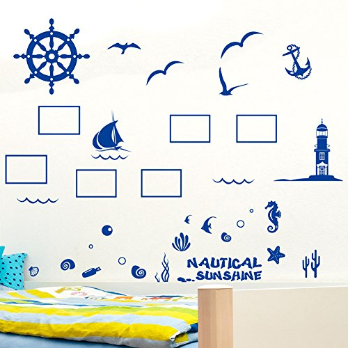 Wall Decals Blue Lighthouse PVC Wall Stickers - 8