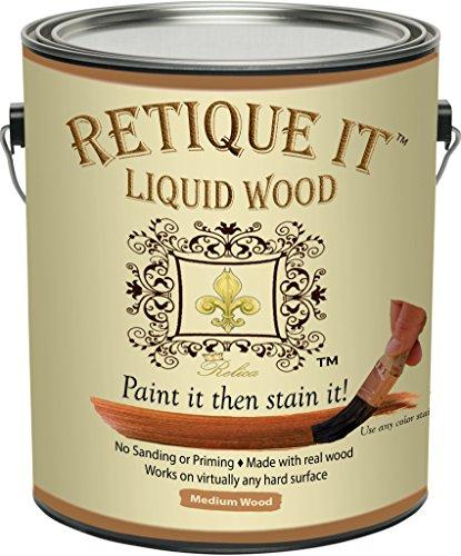 Retique It Liquid Wood - Medium Wood Gallon - Paint it then stain it - Stainable Wood Fiber Paint - Put a fresh coat of wood on it (128oz Medium Wood) by Renaissance Furniture Paint