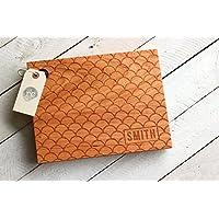 Custom Scalloped Design Cutting Board - Wood Engraved Modern Scallop Pattern