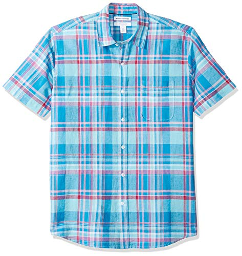 Amazon Essentials Men's Regular-Fit Short-Sleeve Plaid Linen Shirt, Aqua, XX-Large