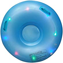 Newdoar Snow Tube LED Light Inflatable Snow Sleds with Durable Handles for Kids Winter Gifts