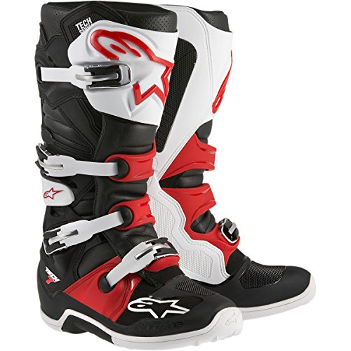 Alpinestars Tech 7 Men's Off-Road Motorcycle Boots - Black/White/Red / 9