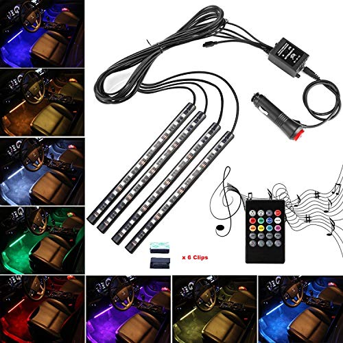 Car LED Strip Lights,Unpopular 4pcs 48 LED DC12V Waterproof Car Interior Music Multicolor LED Under Dash Lighting Kit with Sound Active Function,Wireless Remote Control(4x12LED With Cigarette Lighter)