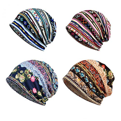 Cotton Fashion Beanies Chemo Caps Cancer Headwear Skull Cap Knitted hat Infinity Scarf for Womens Mens (4Pack-E)
