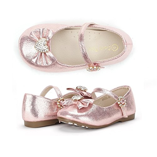 Dream Pairs ANGEL-22 Mary Jane Front Bow Heart Rhinestone Buckle Ballerina Flat (Toddler/ Little Girl) New, Pink, 8 M US Toddler