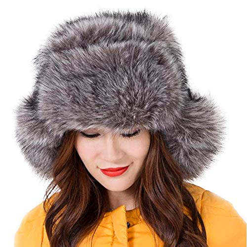 """Dikoaina Faux Fur Snow Trapper Hat with Ear Flap for Skiing Head Circumference 22""""-22.8"""" (Silver Fox)"""