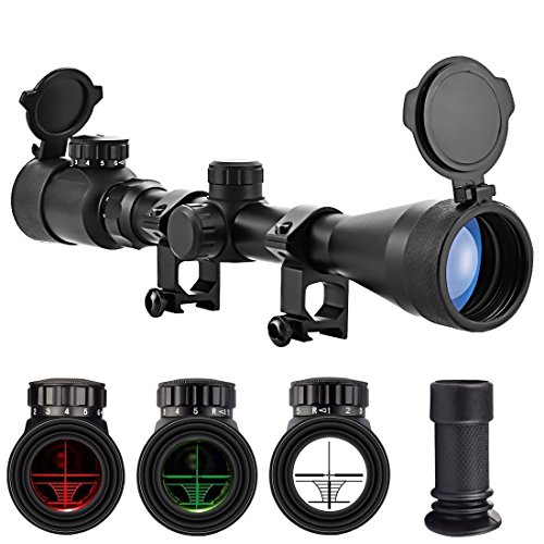 OTW Rifle Scope 3-9X40 BDC Red & Green Illuminated Crosshair Reticle Optics Gun Scopes with Mount Rings