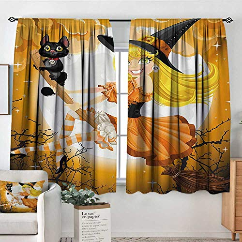 Halloween Window Curtain Drape Cute Sexy Witch on a Broom with Baby Kitten and Hazy Moonlight Halloween Themed Drapes for Living Room 55