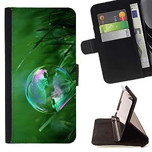 For Sony Xperia Z3 Compact / Z3 Mini (Not Z3) Case , Réflexion Bubble Green Grass Summer - la tarjeta de Crédito Slots PU Funda de cuero Monedero caso cubierta de piel