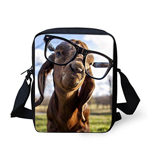 Funny Bulldog marron Bandoulière Dog Sac Glasses Chaqlin wZOqzIO