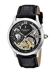 Stuhrling Original Men's 571.33151 Classic Winchester Tempest II Automatic Skeleton Dual Time Zone Black Dial Watch