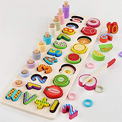 Mefedcy Wooden Number Puzzle Sorting Montessori Toys,Count Sort Stacking Tower with Wood Colorful Number Shape Math Blocks for Kids Preschool Educational 5-in-1 Toddlers Toy Age 3+(2020) (As Shown): Toys & Games