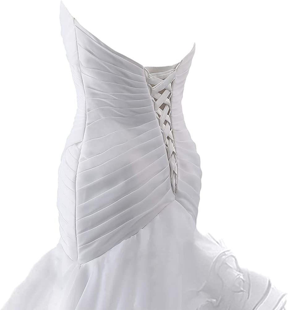 Wedding Dress Mermaid Bridal Dress Trumpet Wedding Gown for Women Ruffles
