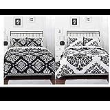 Black White Damask Reversible Queen Comforter Set