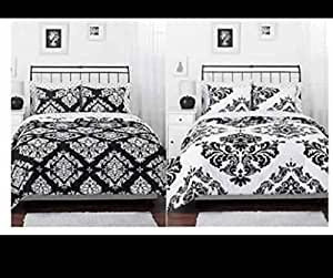 Black White Damask Reversible Queen Comforter Set