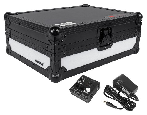Music Controller Digital Tabletop (Odyssey FFX2LCDJBL Flight Fx2 Series Large format Tabletop CD/Digital Media Player Case with Front and Left Side LED Panel)