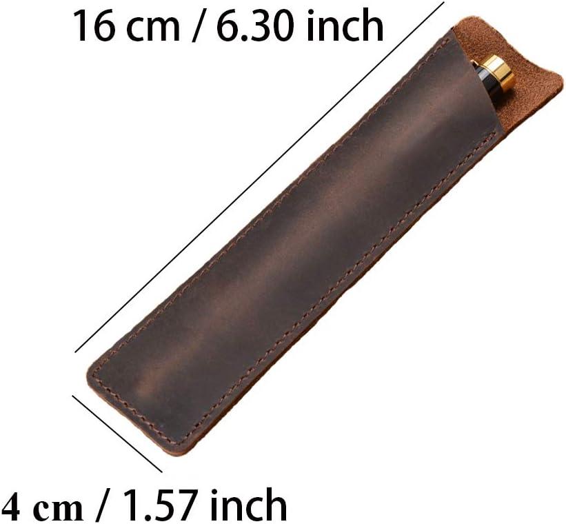 Daimay /Étui /à stylo en cuir Fontaine /à la main Pochette multi stylos Cuir de cheval fou Housse de protection pour stylo Grand Marron