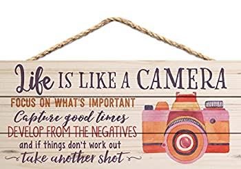 Life is Like a Camera Focus on What's Important 5 x 10 Wood Plank Design Hanging Sign