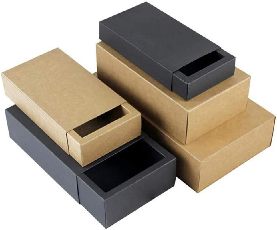 3.2 1.2 inch SUPVOX 20Pcs Black Kraft Paper Soap Boxes Rectangle Gift Tea Candy Soap Packaging Folding Cardboard Mini Box for Travel Storage//3.4