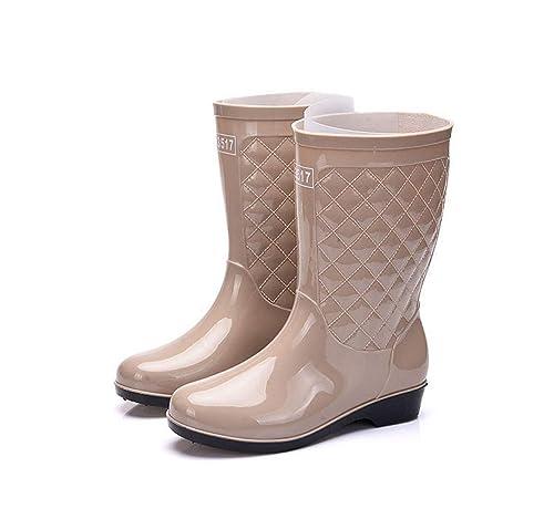 Botas PVC de Agua Mujer Impermeable Botas de Lluvia Tubo Medio de Moda Zapatos de Seguridad con Goma Antideslizante: Amazon.es: Zapatos y complementos