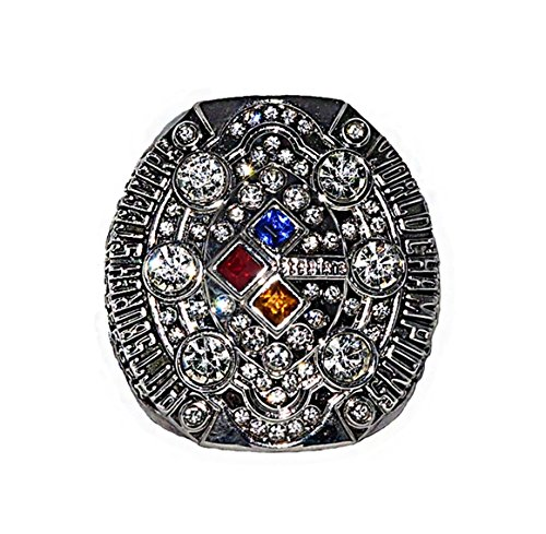 PITTSBURGH STEELERS (Ben Roethlisberger) 2008 SUPER BOWL XLIII WORLD CHAMPIONS (Vs. Arizona Cardinals) Rare & Collectible Replic NFL Silver Championship Ring with Cherrywood Display Box