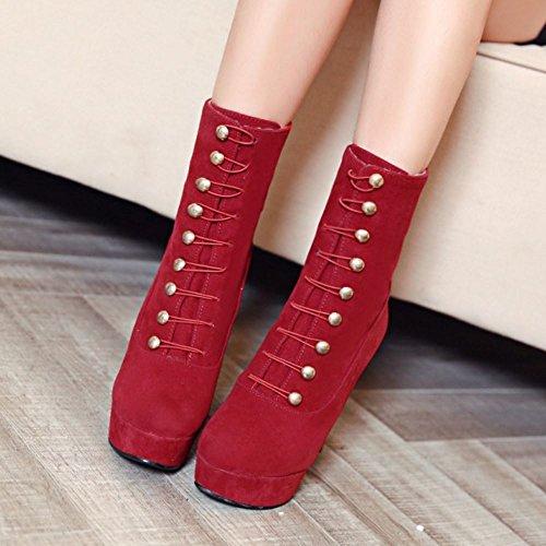 Femmes De La Mode Melady Plate-forme Bottillons Grandes Tailles 1 # Rouge