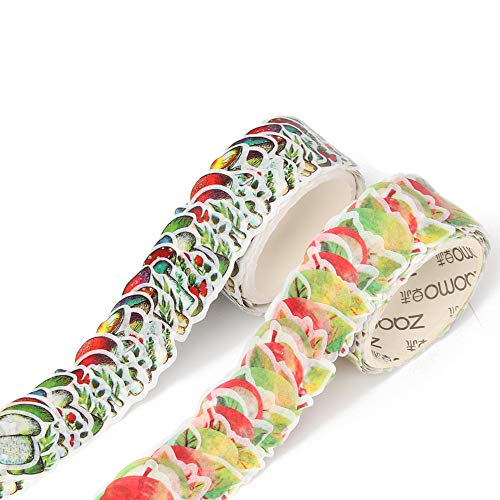 Scrapbooking Petals - Molshine 2 Roll Creative Floral Petal Washi Tape, Masking Tape Decorative Decals,Crafts DIY Petal Stickers for Scrapbooking, Bullet Journal, Planner, 200 Petals/Roll (Apples & Mushrooms)