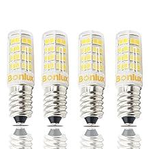 Bonlux Mini E14 European Base LED Light Bulb, 4 Watt ( 40 Watt Halogen Equivalent ) T3/T4 Shape Omni-directional E14 Corn Bulb - Fit for Ceiling Fan, Chandelier, Indoor Decorative Lighting [ PACK OF 4 ] (Daylight)