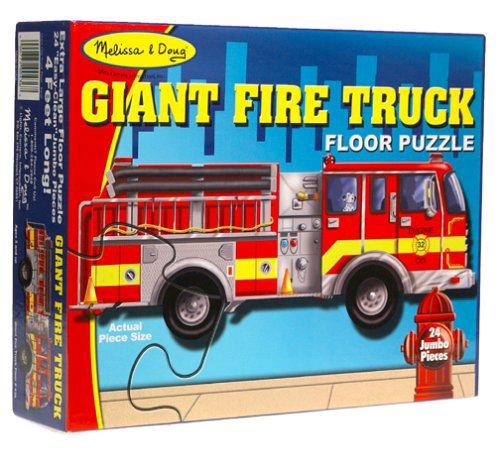 Giant Fire Truck: 24-Piece Floor Puzzle + FREE Melissa & Doug Scratch Art Mini-Pad Bundle [04367]
